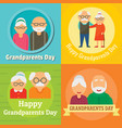 grandparents day granny concept set flat style vector image