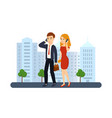 guy and girl talking on the phon vector image vector image