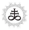 hand drawn leviathan cross alchemical symbol vector image