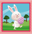 happy easter bunny egg decorative pink frame vector image vector image