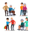help old disabled people social worker of vector image