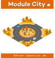 isometric autumnal city vector image vector image