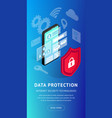 isometric internet security phone vertical banner vector image vector image