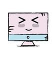 kawaii cute happy computer technology vector image vector image