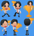 Man Hold Reward Gold Cup vector image vector image