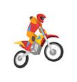 motorcyclist driving motorbike motocross racing vector image