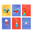 music people fest cards flat vector image vector image