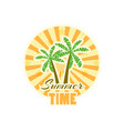 palm trees sticker with rays summer time vector image vector image