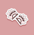 paper sticker on stylish background gloves for vector image vector image