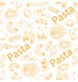 pasta and italian macaroni seamless pattern vector image vector image