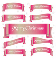 pink shiny color merry christmas slogan curved vector image vector image