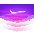 pink sky and modern airplane with cute white vector image