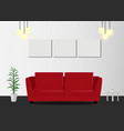 red sofa with lamp and picture frames in living vector image vector image
