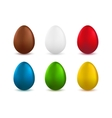 Set of realistic easter eggs isolated on white vector image vector image