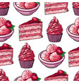 sketch cake cupcakes and pastries seamless pattern vector image vector image
