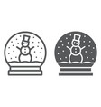 snow globe line and glyph icon christmas vector image