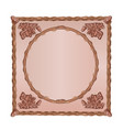 square frame oak leaves and acorns woodcarving vector image vector image