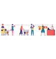 supermarket line social distancing people queue vector image