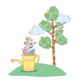 tree plant with garden and sprinkler vector image
