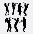 Trumpet instrument music player silhouette vector image vector image