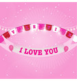 valentine day flags and ribbon with firework vector image vector image