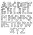 wooden alphabet engraving vector image vector image