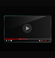 glass video player template vector image