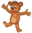 Cute brown cartoon bear vector image