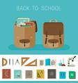 school equipment and backpacks vector image