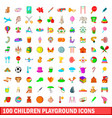 100 children playground icons set cartoon style vector image vector image