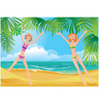 2 girls on tropical beach vector image