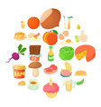 afternoon snack icons set cartoon style vector image