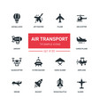 air transport - flat design style icons set vector image