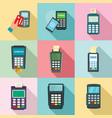 bank terminal credit card icons set flat style vector image vector image