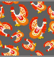 beautiful seamless pattern with cock in russian vector image vector image