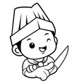 black and white head chef mascot is holding a vector image vector image