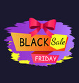 black friday sale caption on label with promotion vector image vector image