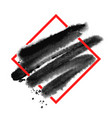 black watercolor brush stroke design over red vector image