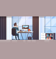 businessman sitting at workplace desk rear view vector image vector image