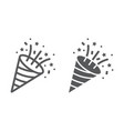 confetti popper line and glyph icon party vector image