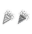 confetti popper line and glyph icon party vector image vector image