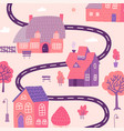 cute cityscape background beautiful cozy houses vector image vector image