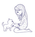 cute girl for coloring bookgirl bandages a cat vector image