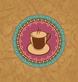 Cute ornate vintage with coffee cup vector image vector image