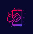 dice icon with phone vector image