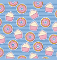 donut and cupcakes background vector image vector image