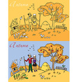 family landscape autumn vector image vector image