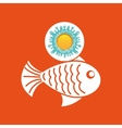 fish sealife summer vacation sun splashes label vector image vector image