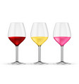 glass of wine red white and rose wine 3d vector image