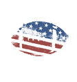 Grunge American football ball US flag themed ball vector image